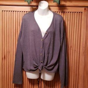 Grey waffle weave blouse Large NWT